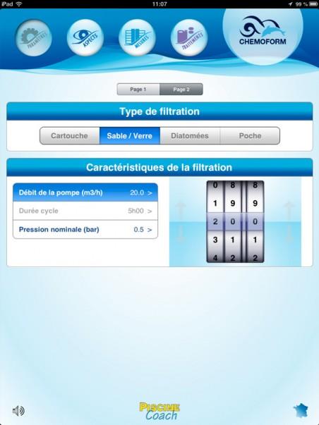 image de l'écran 2 de parametrage de piscine coach