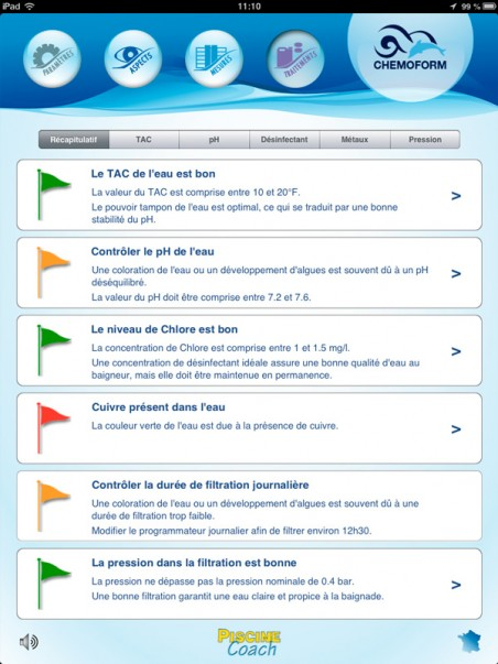 image écran 6 de récapitulatif de l'application piscine coach